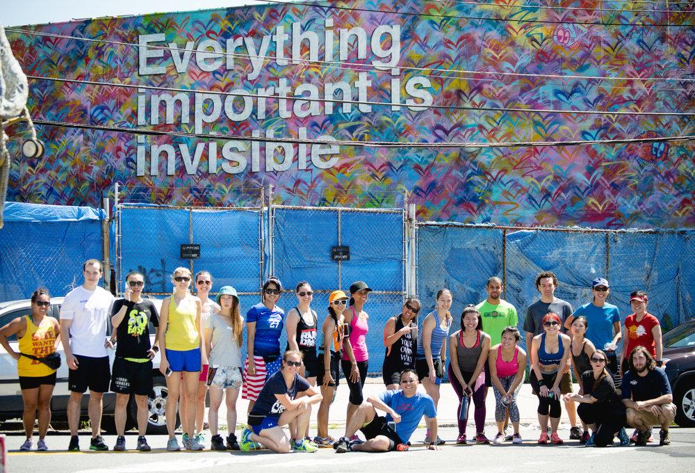 Photo above by  Filles + Garcons from Runstreet Art Run to Welling Court Murals.