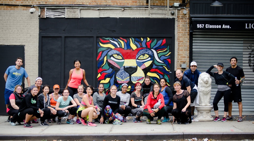 Runstreet Brooklyn run break at beautiful mural by  Vizion .