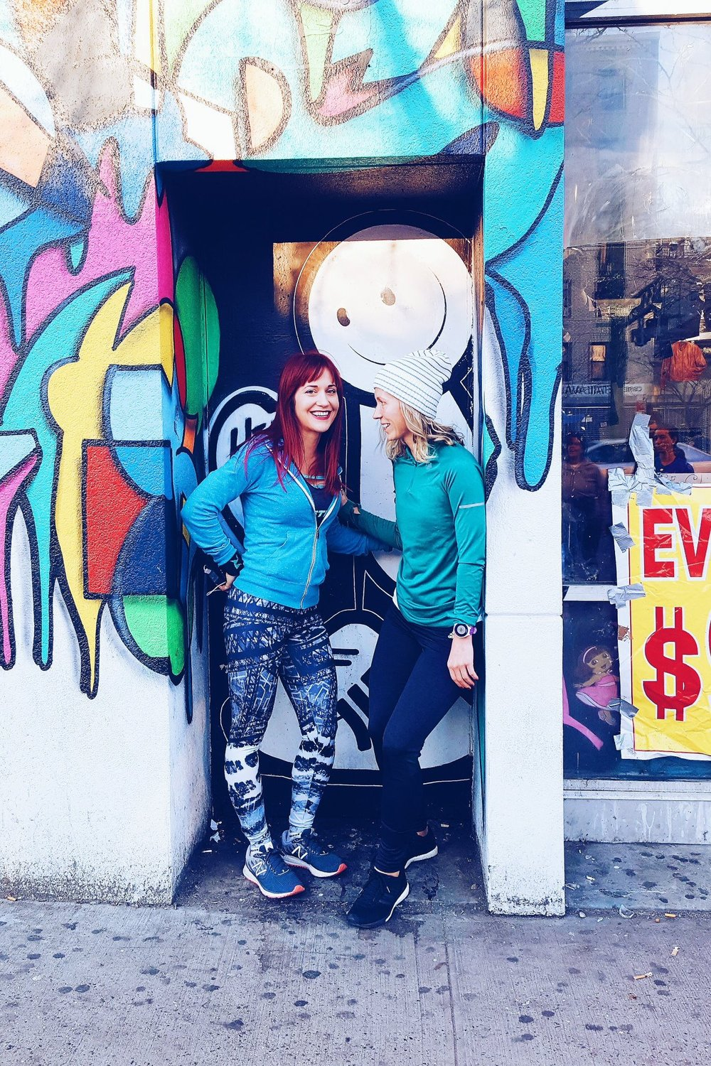 Runstreet founder Marnie Kunz and Girls Run NYC founder Jessie Zapo at the  Oology Collective  mural in LES.