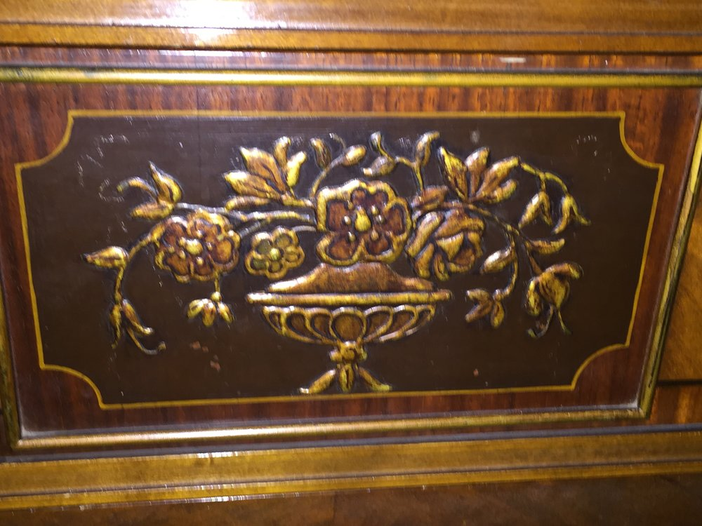 Close-Up of exquisite detail on antique bedroom set