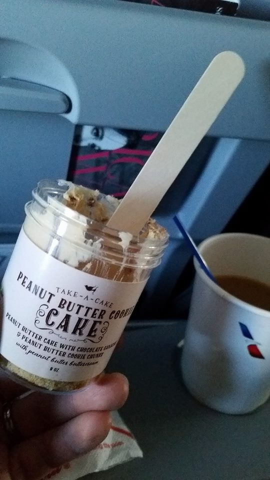 Cake on a plane----we took a lot of cake jars to New York with us!  No problem getting them through security!