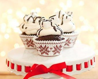Our Hot Cocoa Cupcakes may not keep you warm but they will keep you happy!
