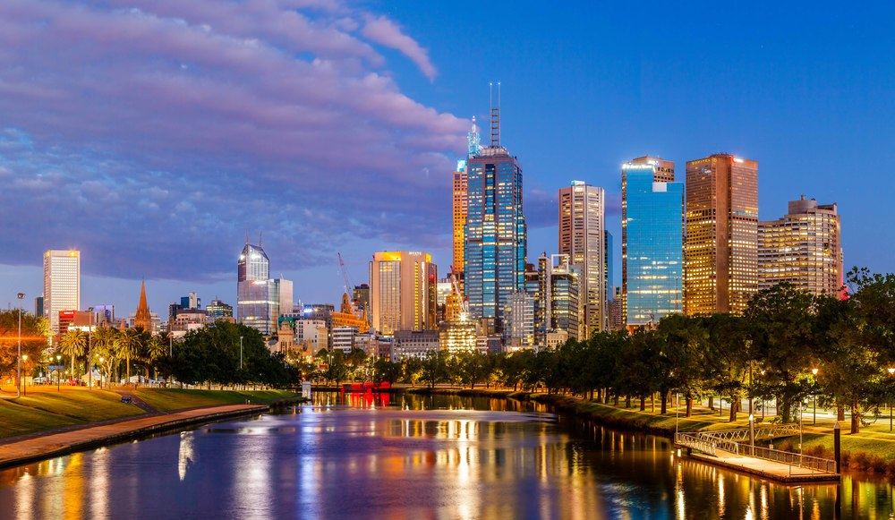 Melbourne CBD with the Yarra in the foreground