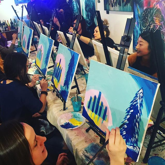 Relax. Paint. Sip. Friday 7:30 $30. #wineandpaint #paintandsip #wine #create #friends #family #datenight #relax #paint #art #jerseycity #hoboken #jcart #jcmakeityours