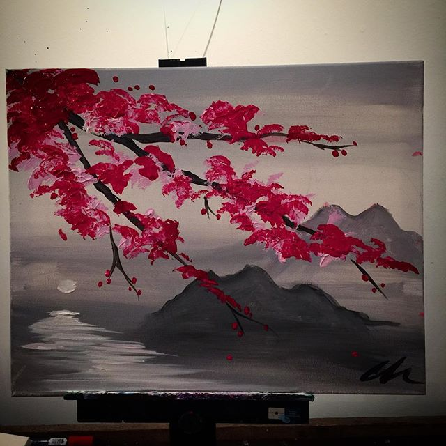 Moonlit cherry blossom! You can do this!!! Come and paint with us @blackbirdgalleryjc #paintnite #paintandsip #wineandpaint