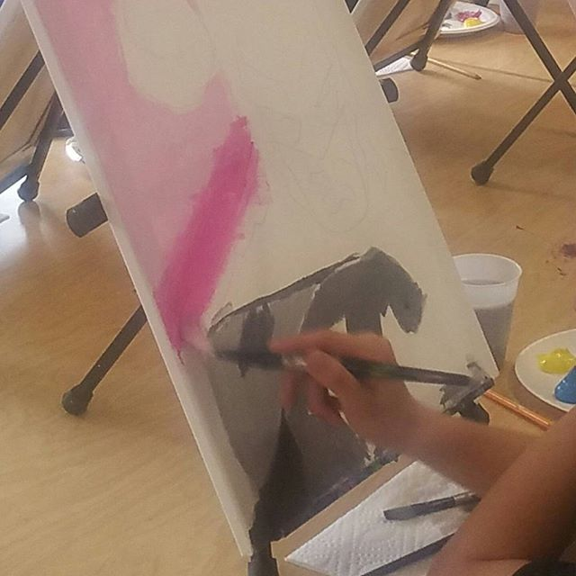 It's all about enjoying the process; don't forget to relax and have fun! Paintings happen through a series of progression, let the artwork build, and watch your piece come to life! #workinprogress #wip #comicbookclub #fanart #batman #superhero #capedcrusader #dccomics #artclass #fieldtrip #inspireart #creatememories #finalproduct #childrensart