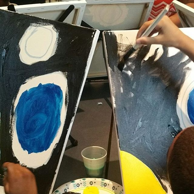We got to work with some incredible little students today, thanks for spending your morning with us! #fieldtrip #summerprogram #children #autism #art #solarsystem #planets #sun #earth #stars #painting #jerseycity #jcmakeityours #jcboe