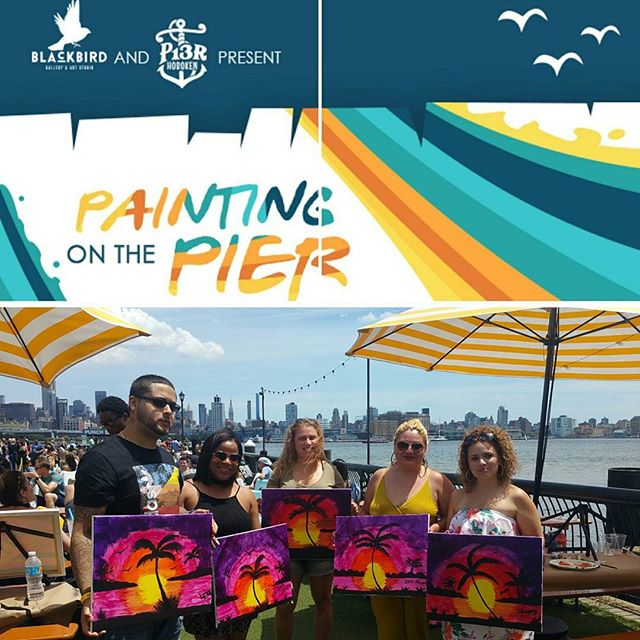 There are still a few spots left for this Sunday! Reserve online link in bio 😎 @pier13hoboken #paintingonthepier #painting #draftbeer #foodtrucks #sangria #pier13 #hoboken #waterfront #nyskyline #outdoors #thingstodoinNJ #jerseycity #pier13hoboken #complimentarycocktail