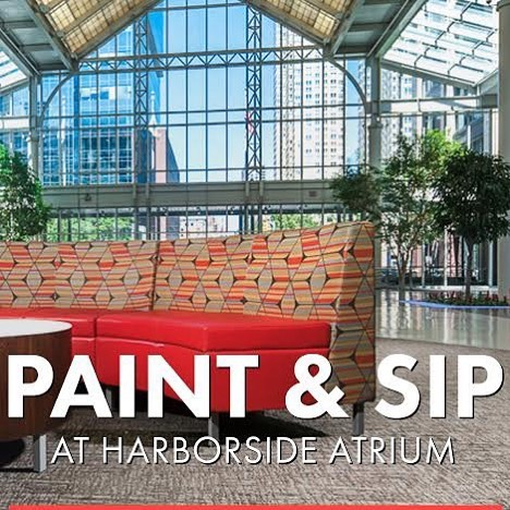 This Monday come join @rosesandrebelsjc for a paint and sip at the Harborside Atrium ticket link in bio #paintandsip #jerseycity #rosesandrebels #paint #art #create #canvas
