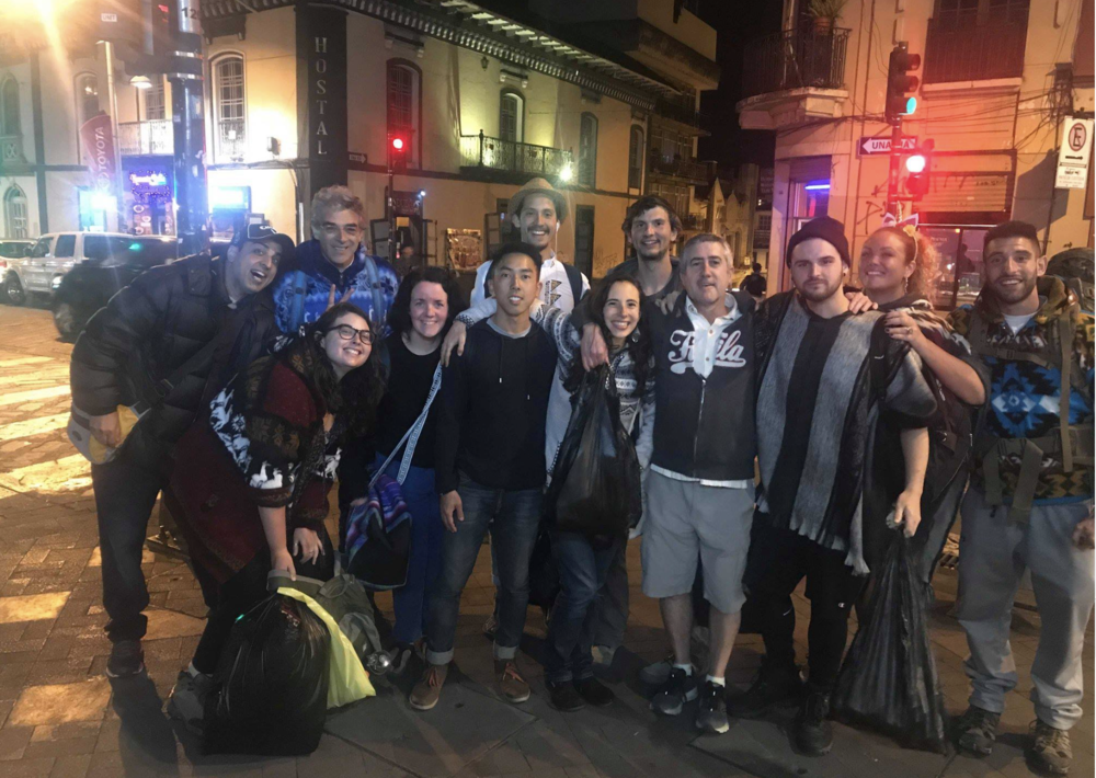 Amazing group of retreat guests from Gaia Sagrada enjoying the night in Cuenca, Ecuador
