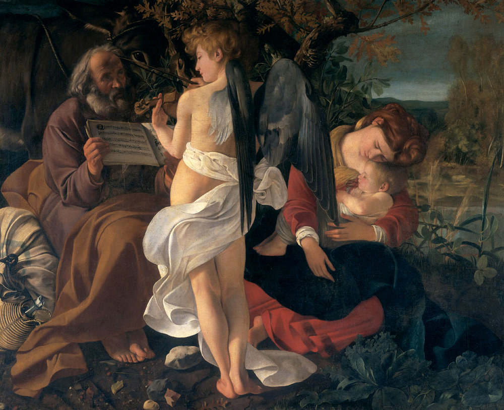 Michelangelo Caravaggio: The Rest on the Flight into Egypt (click to enlarge).