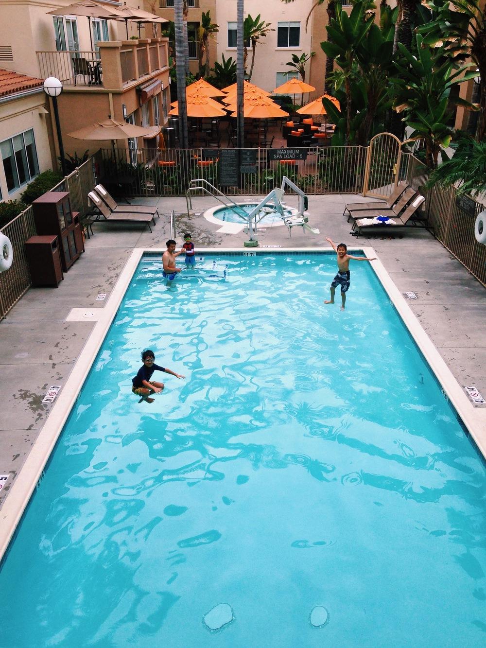 The boys enjoying the Hyatt House pool all to themselves