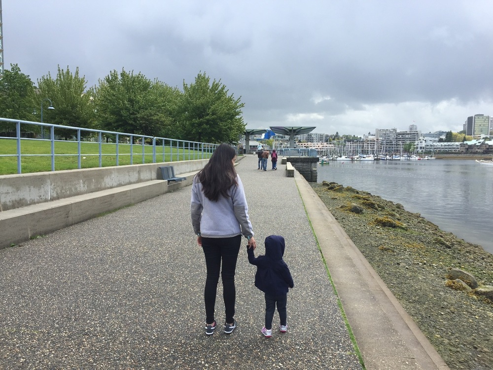 Taking my daughter on her first ferry ride to Granville Island, Vancouver, B.C.