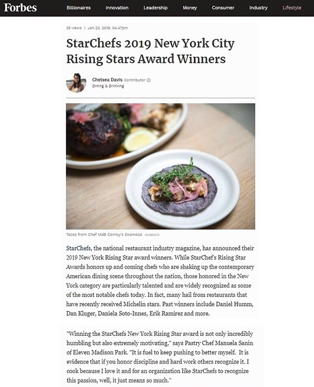 The winners of the StarChefs 2019 New York Rising Stars Awards have been announced on Forbes.com! Link to full story below and tickets to the Awards available at StarChefs.com.