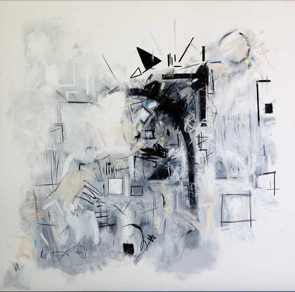 "Title: Holy Size: 72"" X 72""  Medium: Oil, house paint, pastel, charcoal, pencil, chalk on canvas"