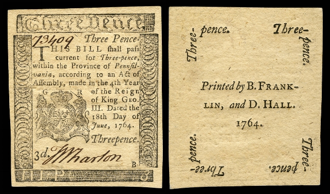 Three pence Colonial currency from the Province of Pennsylvania, printed by Benjamin Franklin.
