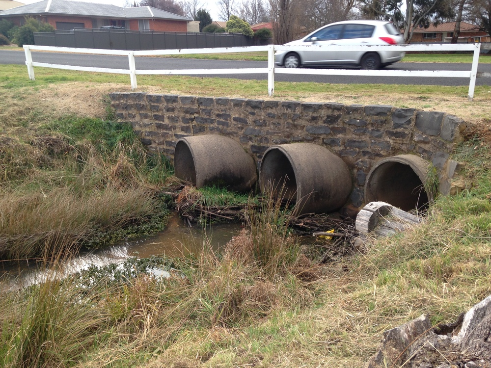 Traditional 'hard' stormwater infrastructure on Rifle Range Creek, Orange