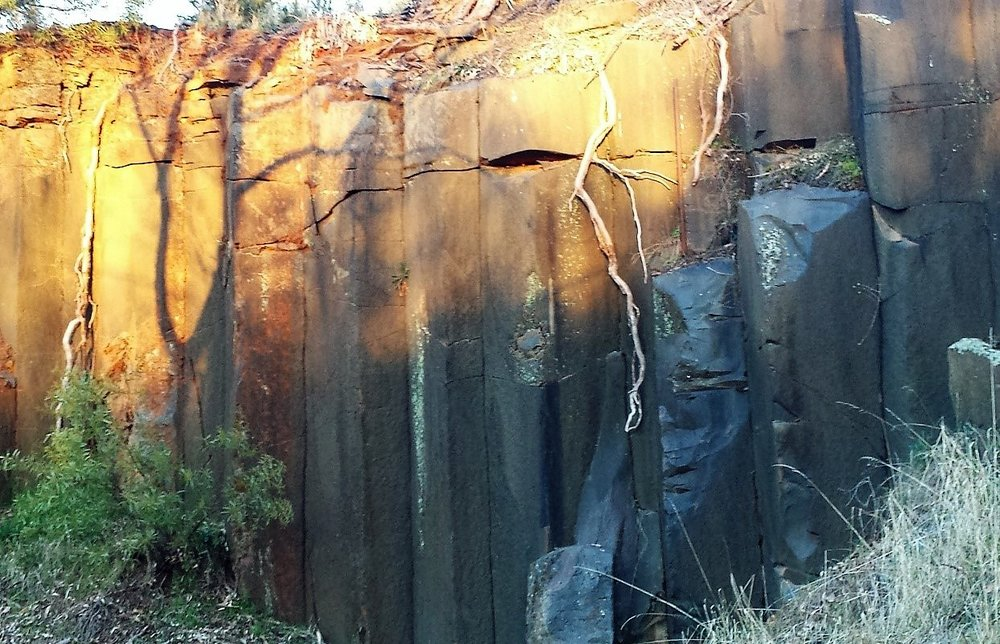 Rock walls exposed during former quarry operations