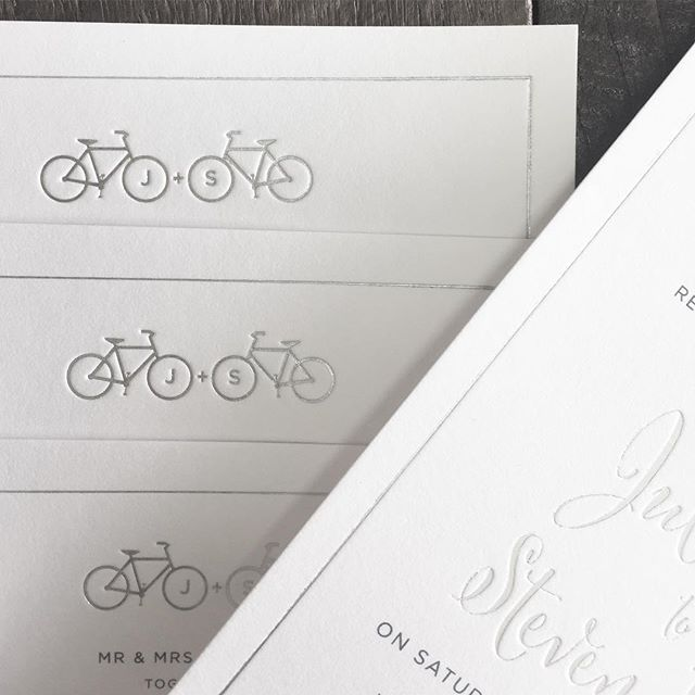 We finished the 2016 with some really fun wedding projects, including these custom designed invites we did for bike enthusiasts Julie and Steve. #weddinginvitations #foil #customdesign #letterpress #weddings #couplesbranding
