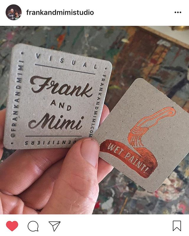 We just printed these little beauties for the legends at @frankandmimistudio - designed by them, needless to say they turned out amazing!! Printed copper foil and gun metal foil double sided on @kwdoggett boxboard 600gsm. #letterpress #foil #businesscards #regram