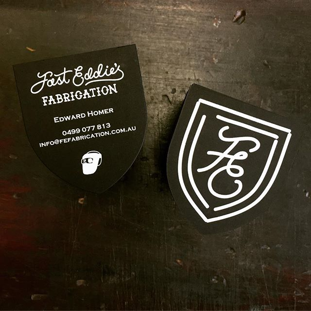 Radical business cards we printed for @fasteddiesgarage - Printed white foil double sided on colourplan ebony black 700gsm, with a custom die cut. So good!! #letterpress #foil #businesscards #colourplan @bjballau