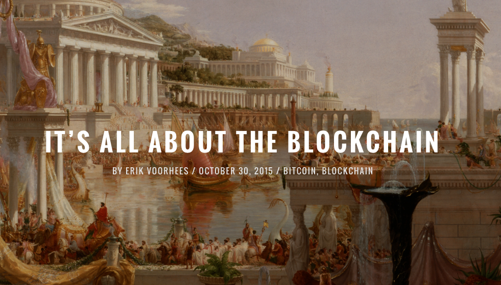 Cover art of Money & State's article on blockchain technology.