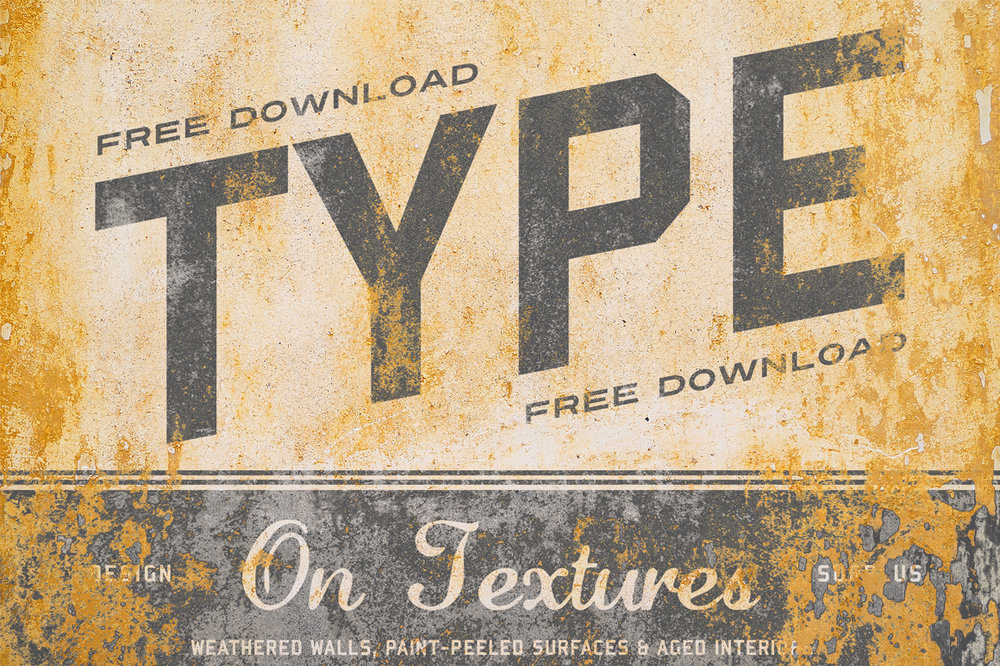 FREE MOCKUPTYPE ON TEXTURES - Type On Textures is a collection of 10 mockups found on weathered walls, paint-peeled surfaces and aged interiors.See for yourself how fast and easy it is to use Type On Textures with this freebie of one landscape size texture.Click here to see Type on Textures in store