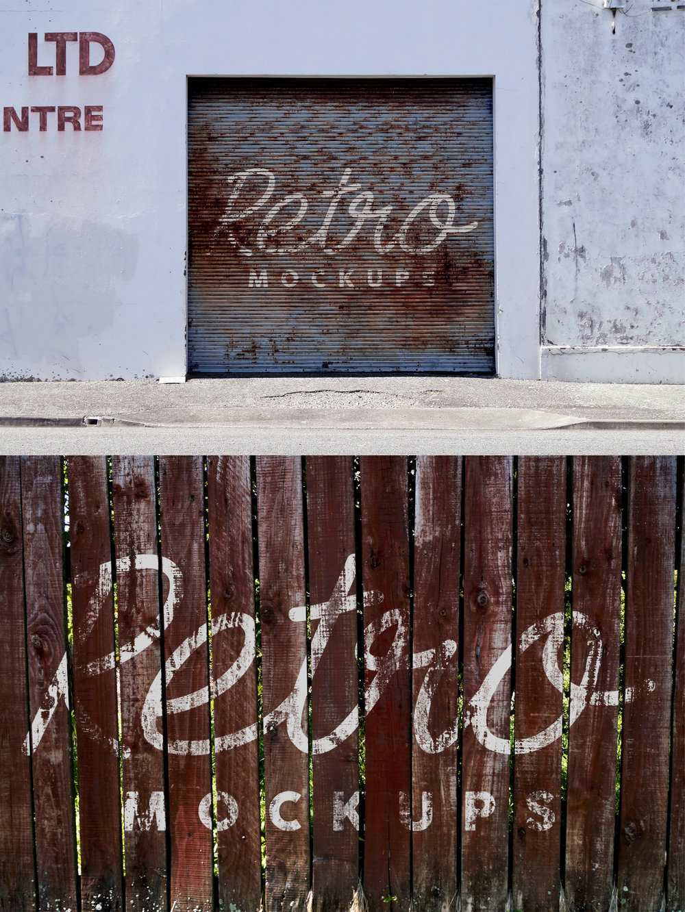FREE MOCKUP 45 RETRO MOCKUPS - This gives you the chance to try before you buy. 45 Retro Mockups consists of beat up garage doors, peeling paint, brick walls, aged textures, shop fronts and oh about 40 more retro images to give your projects that true worn retro look.Included in your free download are 2 mockups (left) and a retro photo filter. These will give you a feel of the product quality and how fast and easy it is to use these mockups.Click here to see 45 Retro Mockups in store