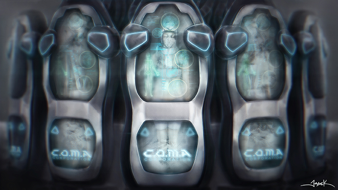 ARA  Concept Art by Jason Kong for ARA – C.O.M.A Corporation Cryogenic Pods with Test Subjects