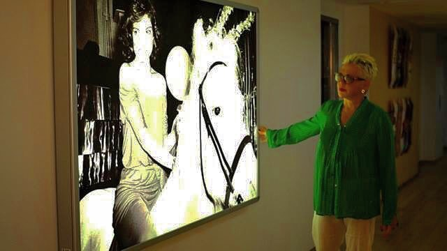 An artist confronted by her work. Rose Hartman became emotional when confronted with her larger than life infamous print of Bianca Jagger. THE PHOTO THAT WENT ROUND THE WORLD. Photo: The Artists Company.