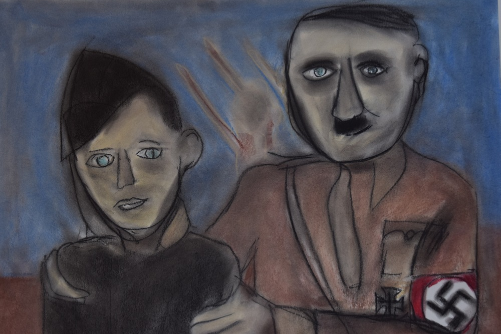Three Days in Auschwitz - Hitler and Kid. Artwork by Philippe Mora.