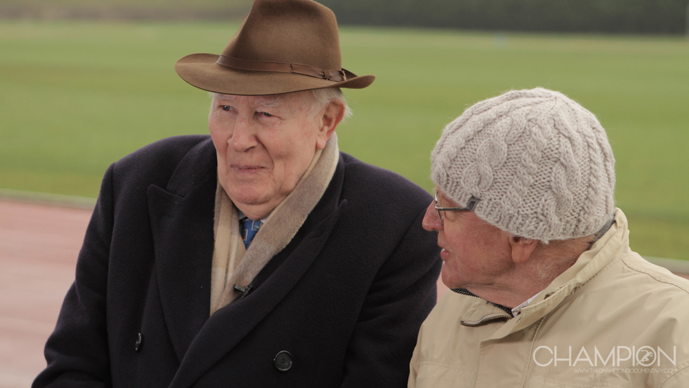 CHAMPION – Olympians Roger Bannister and Chris Chataway during their interview at the Iffley Road Track (Roger Bannister Track) in Oxford, UK.