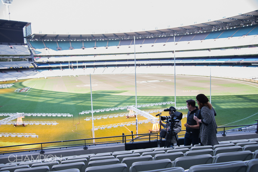 CHAMPION – Filming at the Melbourne Cricket Ground: Sound Recordist Tim McCormick with Director of Photography Shaun Herbertson and Director Sally McLean.