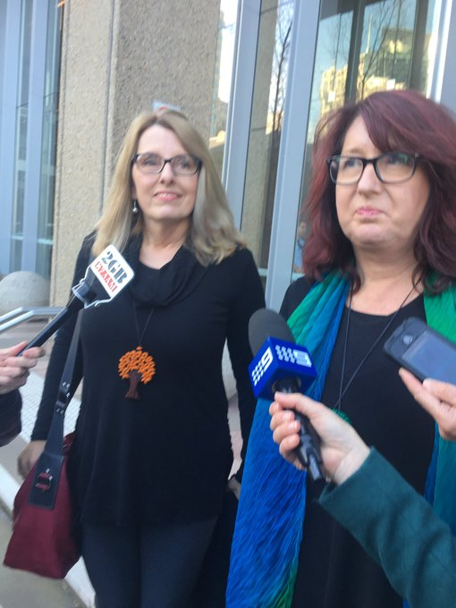 Cultivating Murder - The victim Glen Turner's partner Alison McKenzie and his sister Fran Pearce outside the Supreme Court Sydney, where Ian Turnbull had just been convicted of murder.