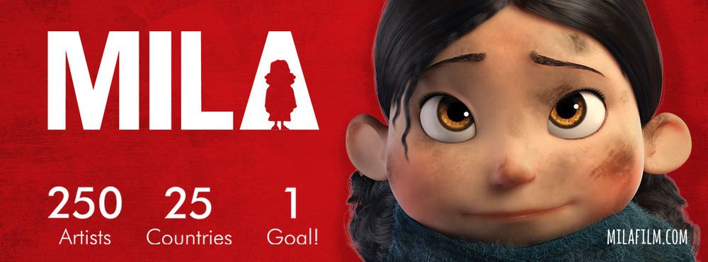Mila , the 3D animated short film, comprised of 250 artists volunteering from 25 countries work together to focus on the under-reported, collateral damage of War, particularly involving the youngest civilians.