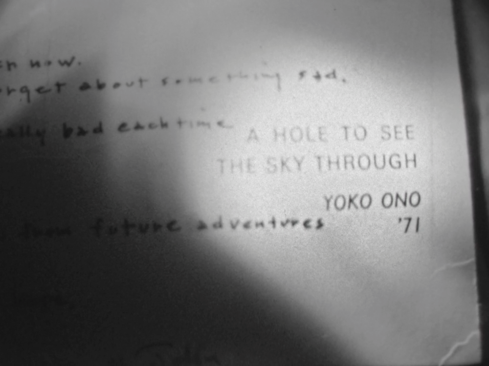 "Free Fall with John and Yoko - After sustaining his injury, Joseph received a hand written card from Yoko and John. It was titled ""A Hole to See the Sky Through"". A hole was punched out from the center of the card."