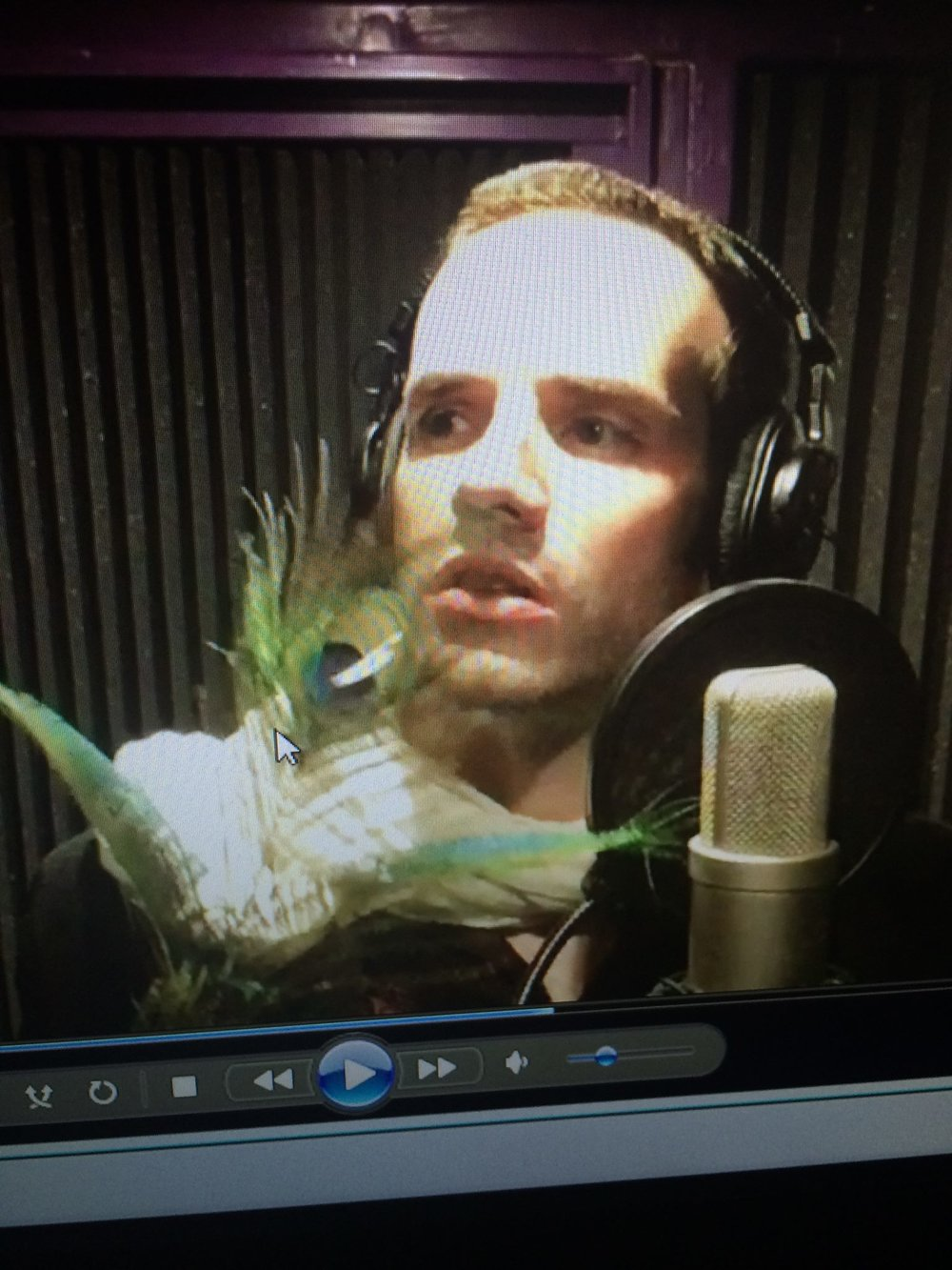 """J Michael Tatum warms up his vocals with dramatic flair."""