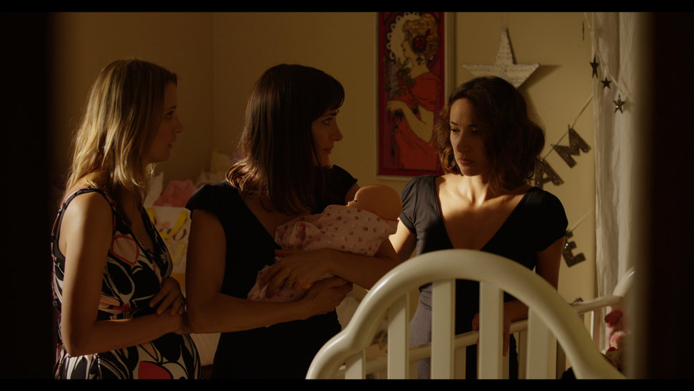 L to R. Tempany Deckert as Pregnant Lady ,  Gabriela Tollman as Clare and Evelyne Tollman as Anna in Somebody's Mother Director: Gabriela Tollman. Image courtesy of Bluehouse Media