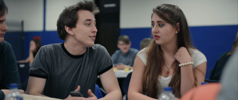 Tension builds between Evan Moore (CK Steele) and his girlfriend Addison McKnight (Haley Calhoun) in Sincerely, Me.