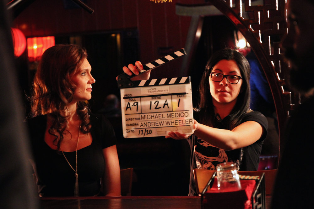 "Slating the ""Bells and Whistles"" scene with Kaili Vernoff (shot at Good Luck Bar in Los Feliz in Los Angeles)"