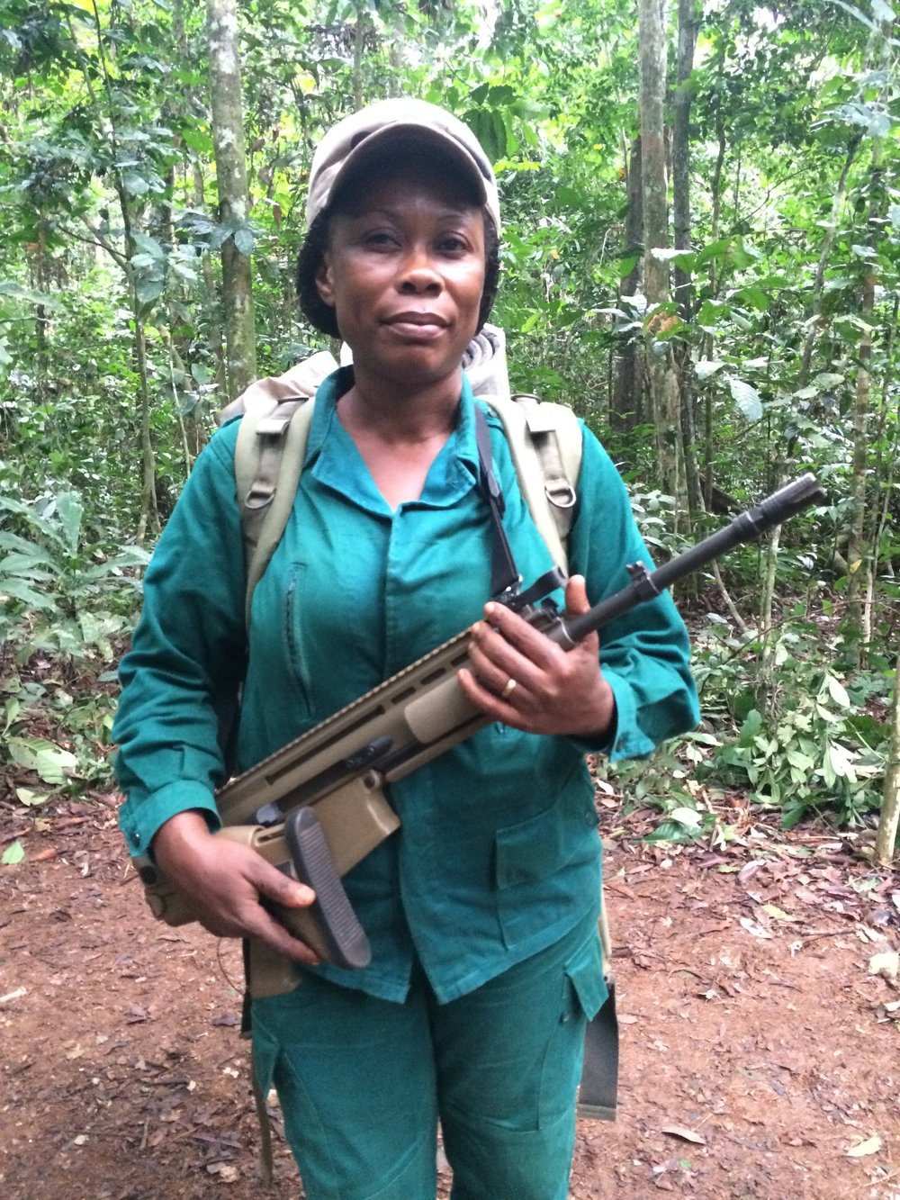 Silent Forests - Sidonie Asseme, one of Cameroon's first female eco-guards, on patrol in Nki National Park