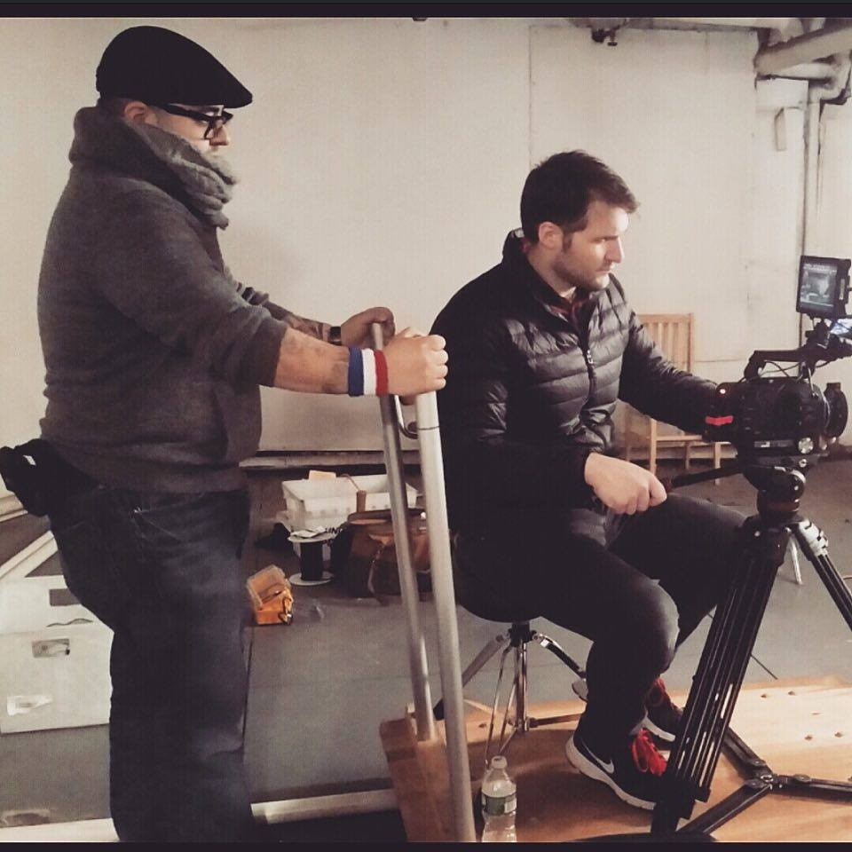 In God We Trust - Director David C. Diaz on the left doing double duty pushing the dolly with DOP Max Lewin