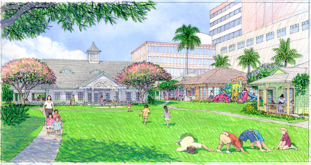 Im/Perfection - Children play and laugh in the open courtyard at Central Union Preschool in Honolulu, Hawaii. Hitoshi Hida created this architectural rendering for Group 70 International to depict the proposed re-design of the administration building and classrooms, inspired by Hawaii's historic plantation-style housing.