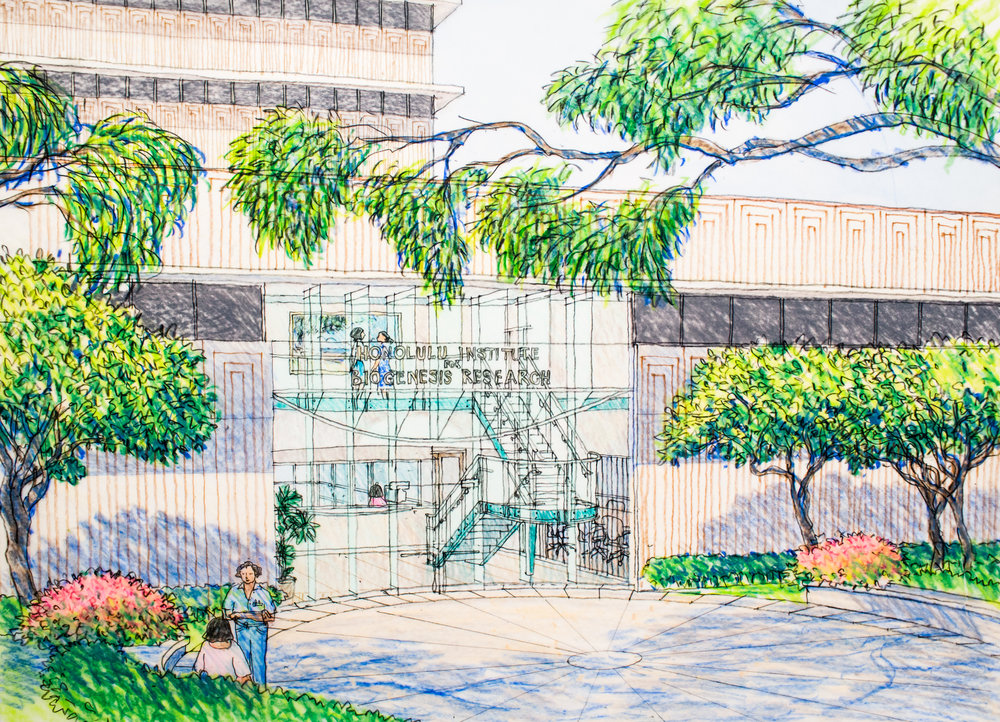 Im/Perfection   - Built in 2000, the Institute for Biogenesis Research on the campus of the University of Hawaii was a collaboration between architectural designer Hitoshi Hida and the founding director, Dr. Ryuzo Yanagimachi a leader in the field of cloning. Hida's rendering depicts the continuity of indoor and outdoor space, a defining trait in Hawaii architecture.