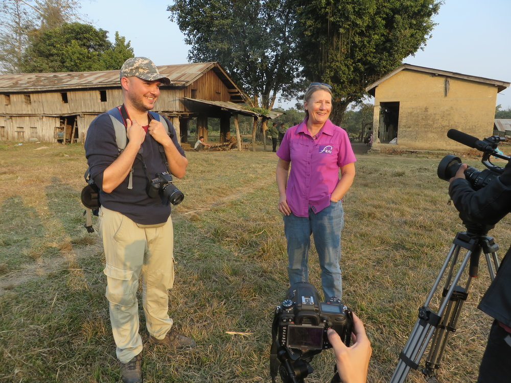 Unchained - Behind The Scenes - Writer/Director Alex C. Rivera and Carol Buckley from Elephant Aid, Breeding Center, Sauraha, Nepal.
