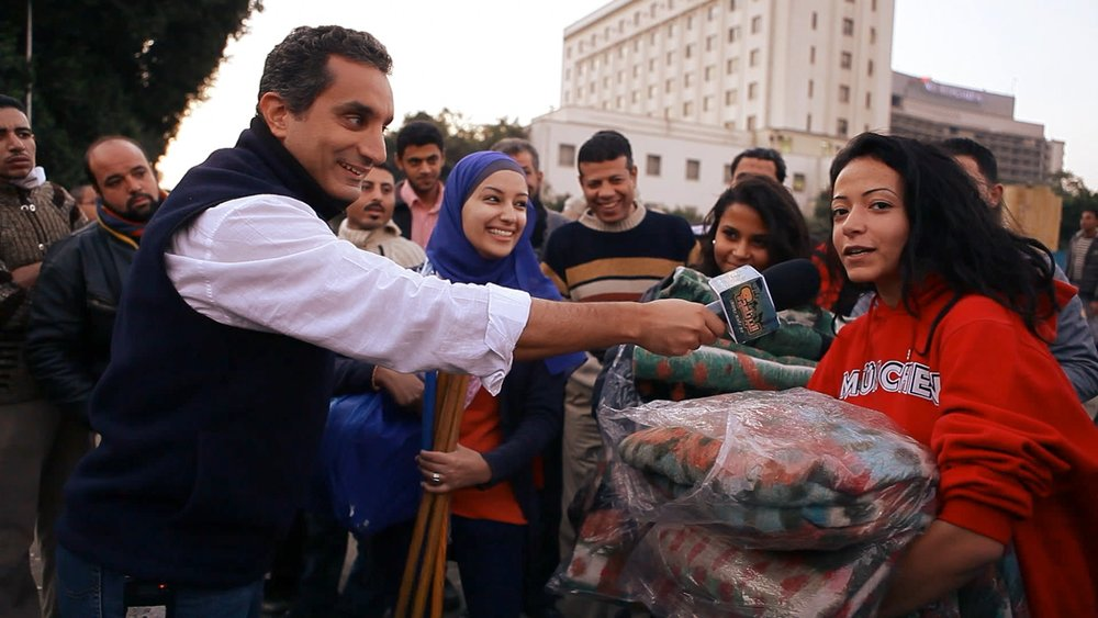 Bassem interviewing people at Mohamed Mahmoud Street in November 2011.