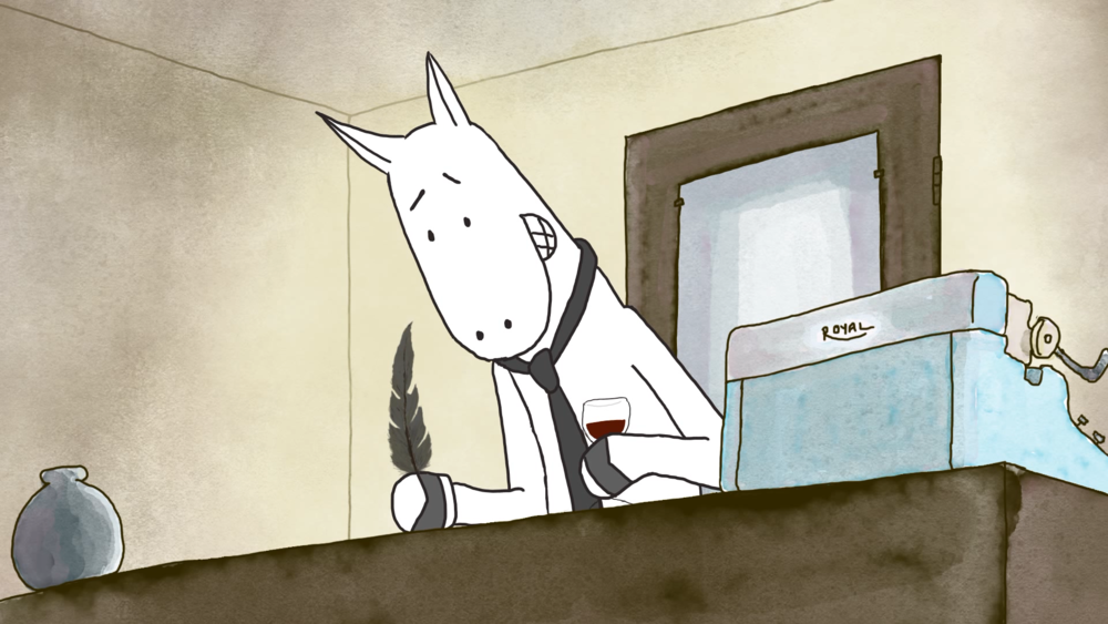 Stewball, an angst-ridden bipedal horse, pens a letter to Death in Kate Isenberg's animated short film  Dear Death .