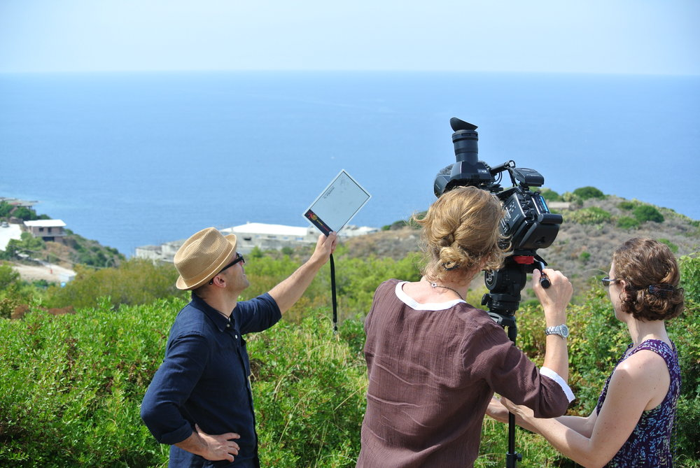 The Guys Next Door - Allie and Amy preparing to film a landscape in Sardinia, Italy.