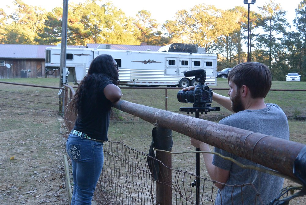 Cowgirl Up - Filmmaker Nathan Willis interviews Barrel Racer LaBrelah Hutchins during a break from practicing for the National Black Rodeo Finals.
