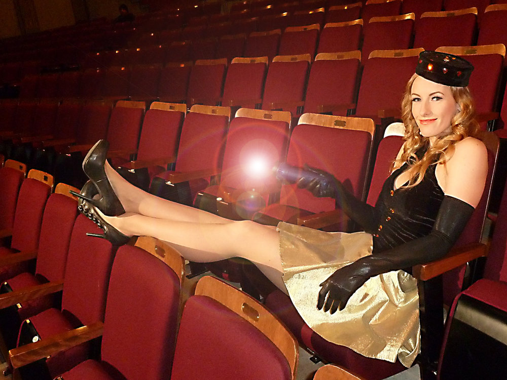 "Actress Kristin Brown as the Usherette haunting the movie palaces of old in the short film ""Broken Palace""."